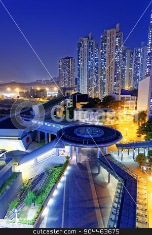 hong kong public estate  stock photo, hong kong public estate at night by Keng po Leung