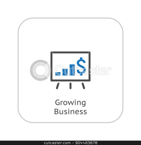 Growing Business Icon. Business Presentation. Flat Design. stock vector clipart, Growing Business Icon. Business Presentation. Flat Design. Isolated Illustrator. by Vadym Nechyporenko