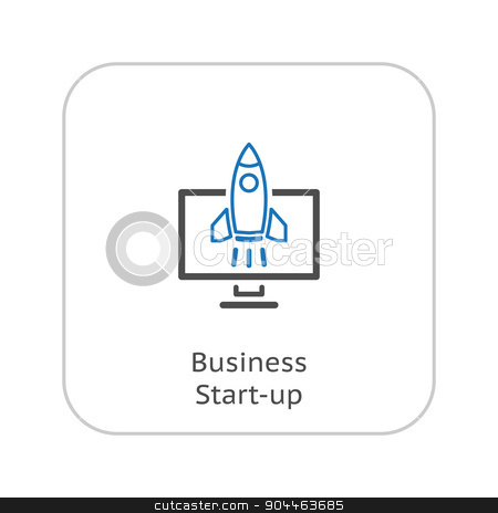 Business Start-up Icon. Business Concept. Flat Design. stock vector clipart, Business Start-up Icon. Business Concept. Flat Design. Isolated Illustration. Rocket Launch. by Vadym Nechyporenko