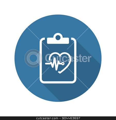 Heart Care Program and Medical Services Icon. Flat Design. Long  stock vector clipart, Heart Care Program and Medical Services Icon. Flat Design. Isolated. Long Shadow. by Vadym Nechyporenko