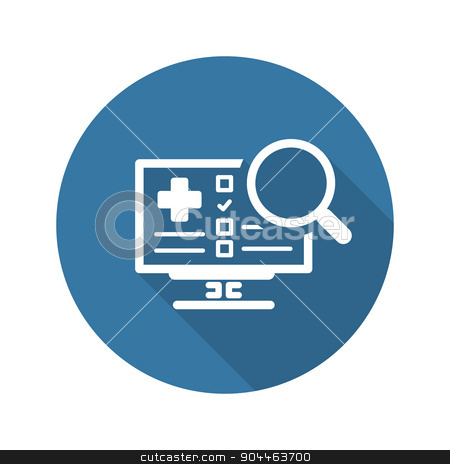 Search Online Instruction and Medical Services Icon. Flat Design stock vector clipart, Search Online Instruction and Medical Services Icon. Flat Design. Isolated. Long Shadow. by Vadym Nechyporenko