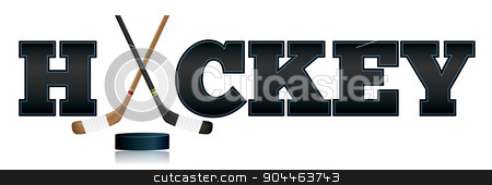Hockey Word Art Illustration stock vector clipart, The word HOCKEY written in letters and sticks and puck illustration. Vector EPS 10 available. EPS file contains transparencies and gradient mesh. by Jason Enterline