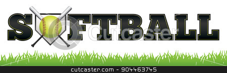 Softball Word Art Illustration stock vector clipart, The word SOFTBALL written in letters, ball, bat, and home plate illustration. Vector EPS 10 available. EPS file contains transparencies and gradient mesh. by Jason Enterline