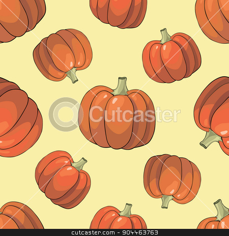 Pumpkin Background seamless pattern stock vector clipart, Seamless colorful background with orange bright pumpkins by Aleksandra Serova