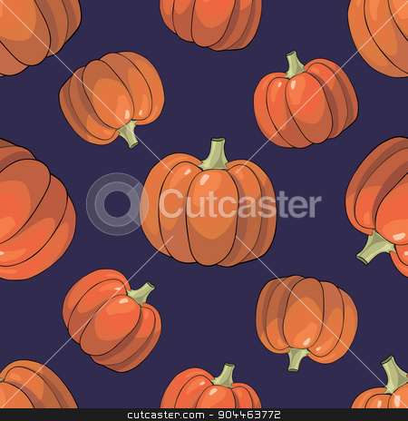 Pumpkin Background seamless pattern stock vector clipart, Seamless colorful background with orange bright pumpkins by Aleksandra Serova