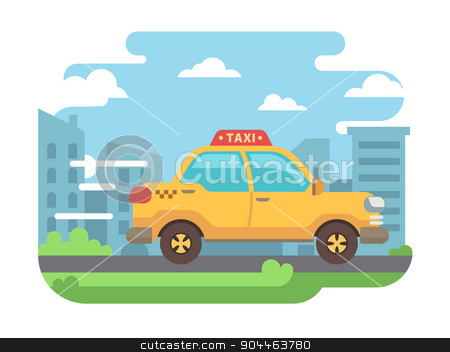 Yellow taxi stock vector clipart, Yellow taxi. Transportation and vehicle, cab traffic, automobile and wheel. Flat vector illustration by Dmitry Kalabin