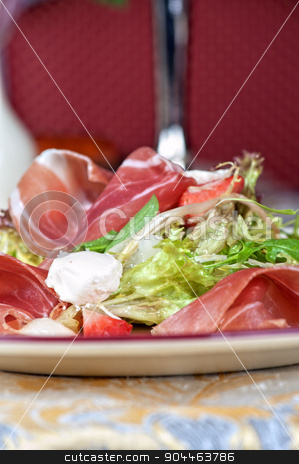 cheese and bacon salad stock photo, Green salad with cheese and bacon by olinchuk