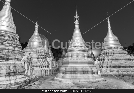 Ancient buddhist temple, Pindaya, Burma, Myanmar. stock photo, Ancient temple close to Pindaya Cave located next to the town of Pindaya, Shan State, Burma, Myanmar,  Famous buddhist pilgrimage site and a tourist attraction. Black and white image. by kasto