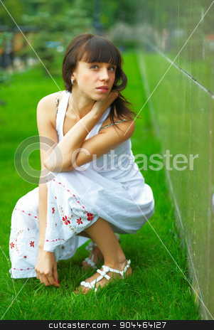 Woman portrait stock photo, Portrait of young woman at urban background by Aikon