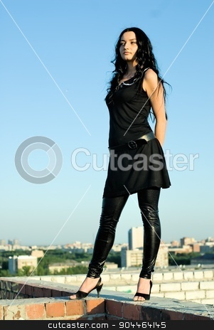 Standing girl on roof stock photo, Girl standing on roof on red brick wall by Aikon