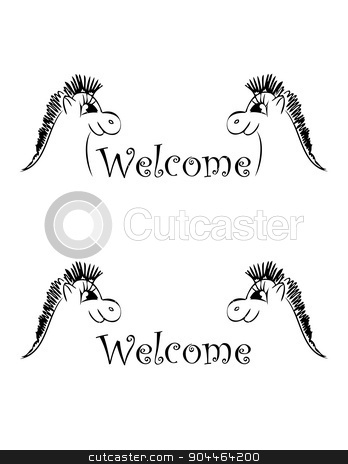 set of banner welcom stock vector clipart, set of banner with two smille horses by Iryna