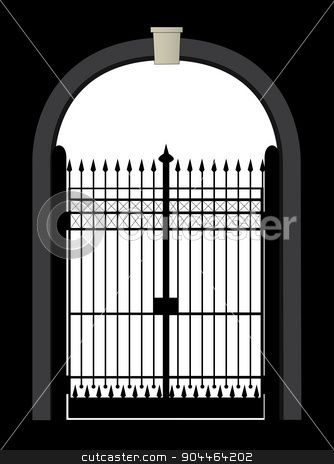 Gateway stock vector clipart, An large iron gate set against a black background by Kotto