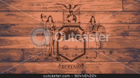 New York State Flag Brand stock vector clipart, New York State Flag branded onto wooden planks by Kotto