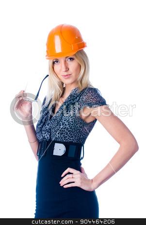 engineer woman in orange helmet stock photo, Engineer woman in orange helmet isolated on white background by Aikon