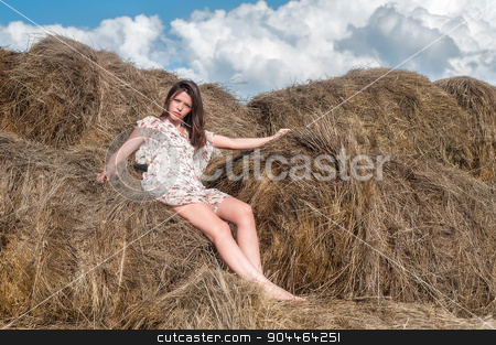 Young beautiful woman on hay stock photo, Portrait of young attractive brunette woman standing near hay stack by Aikon