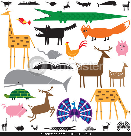 Animals stock vector clipart, Variety of stylized animals in color and black and white by Adrian Sawvel