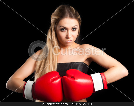 beautiful nude girl with boxing gloves stock photo, Half body portrait of sexy young blonde woman with red boxing gloves covering breasts, Isolated over black by Aikon