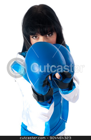 Pretty girl with boxing gloves stock photo, Young woman with boxing gloves isolated on white by Aikon