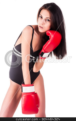 Beautiful female boxer stock photo, Young attractive boxer woman with red boxing gloves over white background by Aikon