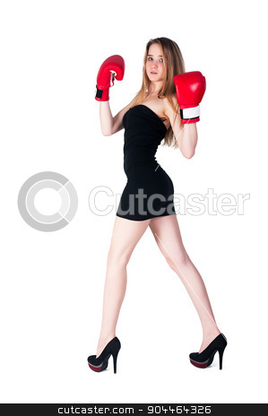 Pretty girl with boxing gloves stock photo, Fashion blonde woman with boxing gloves over white background by Aikon