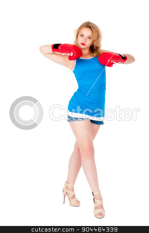 Attractive girl with boxing gloves stock photo, Young blonde sexy woman with boxing gloves. isolated on white by Aikon