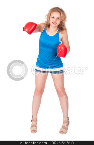 Pretty girl in boxing gloves stock photo, Attractive blonde woman with boxing gloves over white background by Aikon