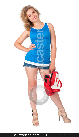 Pretty girl with boxing gloves stock photo, Young blonde woman with boxing gloves isolated on white by Aikon