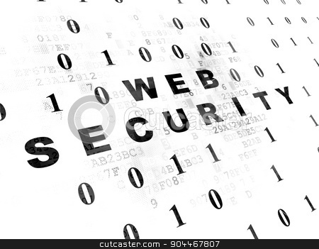 Web design concept: Web Security on Digital background stock photo, Web design concept: Pixelated black text Web Security on Digital wall background with Binary Code by mkabakov