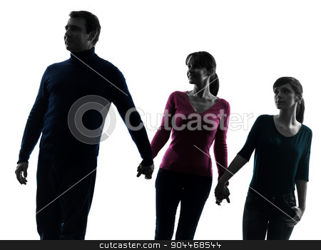 family father mother daughter walking holding hands silhouette stock photo, one  family father mother daughter man walking holding hands in silhouette studio isolated on white background by Ishadow