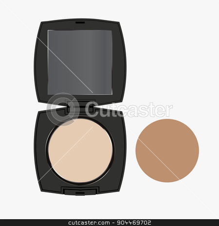 vector modern face powder isolated on white stock vector clipart, vector modern face powder isolated on white background by petr zaika