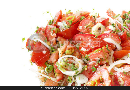tomato salad with onions and herbs as a corner background stock photo, tomato salad with onions and herbs as a corner background isolated on white by Maren Winter
