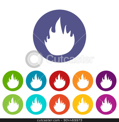 Fire flat icon stock vector clipart, Fire web flat icon in different colors. Vector Illustration by ylivdesign