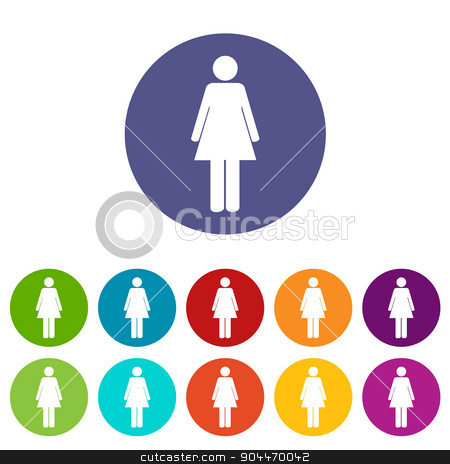 Woman flat icon stock vector clipart, Woman web flat icon in different colors. Vector Illustration by ylivdesign
