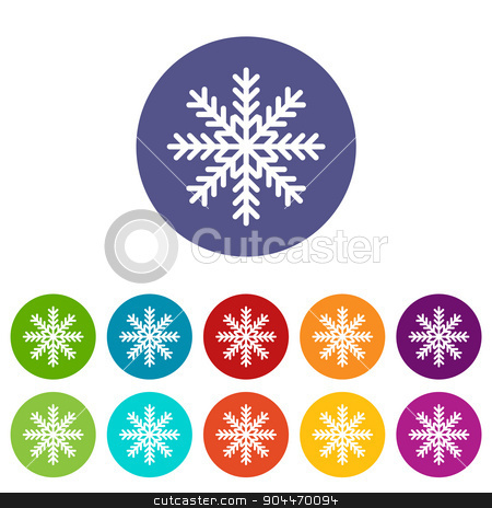 Snowflake flat icon stock vector clipart, Snowflake web flat icon in different colors. Vector Illustration by ylivdesign