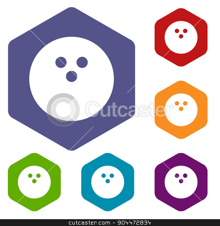 Bowling rhombus icons stock vector clipart, Bowling rhombus icons set in different colors. Vector Illustration by ylivdesign