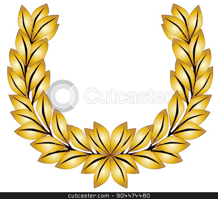 Golden Laurel Crown stock vector clipart, A crown of golden olive leaves on a white background by Kotto