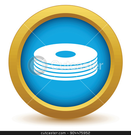 Gold disk icon stock vector clipart, Gold disk icon on a white background. Vector illustration by ylivdesign