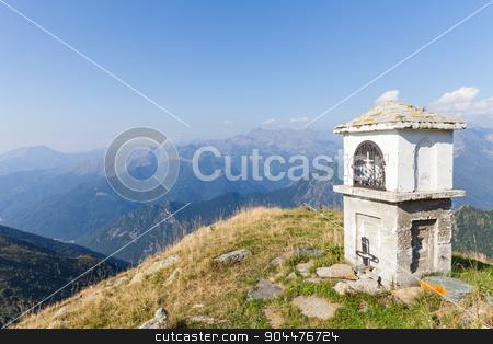 Christian chapel stock photo, Christian chapel during a sunny day on Italian Alps - faith concept by Paolo Gallo