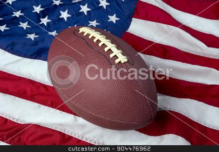 American Football. stock photo, American football on American old glory flag. by WScott