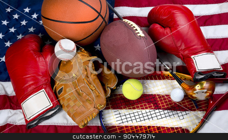 American Sports. stock photo, American sports showing boxing,baseball,tennis,basketball,football, and golf. by WScott