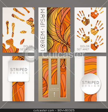 Set of vector design templates. Brochures in random colorful style. Vintage frames and backgrounds. stock vector clipart, Set of vector design templates. Brochures in random colorful style. Vintage frames and backgrounds. by Drekhann