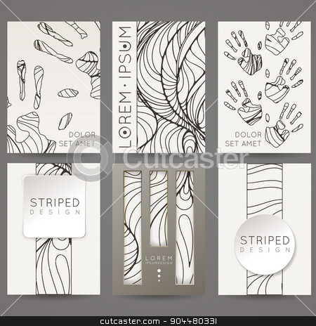 Set of vector design templates. Brochures in random colorful style. Vintage frames and backgrounds. Black and White. stock vector clipart, Set of vector design templates. Brochures in random colorful style. Vintage frames and backgrounds. Black and White. by Drekhann