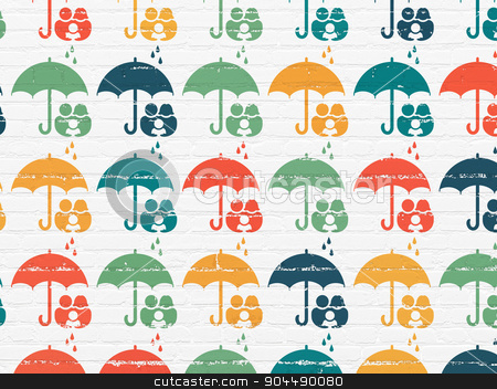 Insurance concept: Umbrella icons on wall background stock photo, Insurance concept: Painted multicolor Umbrella icons on White Brick wall background by mkabakov
