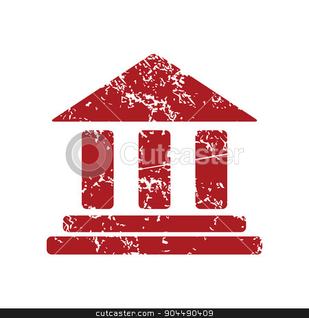 Classical building red grunge icon stock vector clipart, Red grunge icon with image of building with pillars, isolated on white by ylivdesign