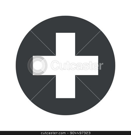 Monochrome round add icon stock vector clipart, Plus symbol in black circle, isolated on white by ylivdesign
