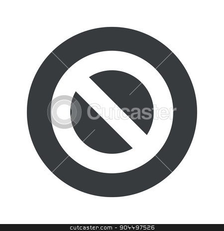 Monochrome round NO icon stock vector clipart, Image of NO sign in black circle, isolated on white by ylivdesign