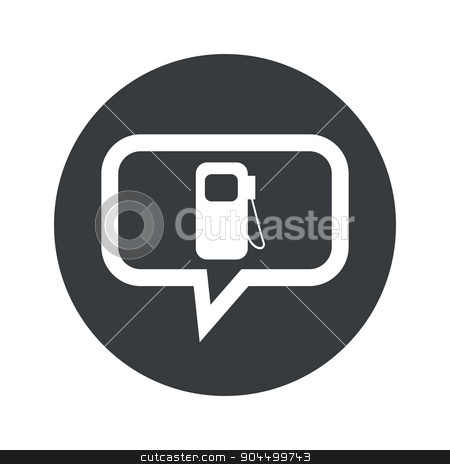 Round dialog gas station icon stock vector clipart, Image of gas station sign in chat bubble, in black circle, isolated on white by ylivdesign