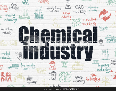 Industry concept: Chemical Industry on wall background stock photo, Industry concept: Painted black text Chemical Industry on White Brick wall background with  Hand Drawn Industry Icons by mkabakov