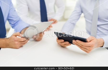 close up of businessman hands with tablet pc stock photo, business, people, technology and teamwork concept - close up of businessman hands with tablet pc computer by Syda Productions