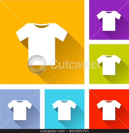 tee shirt icons stock vector clipart, illustration of colorful square tee shirt icons set by Nickylarson974